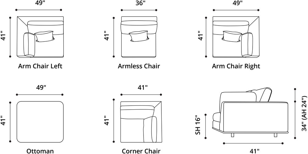 Perry Modular Armless Chair