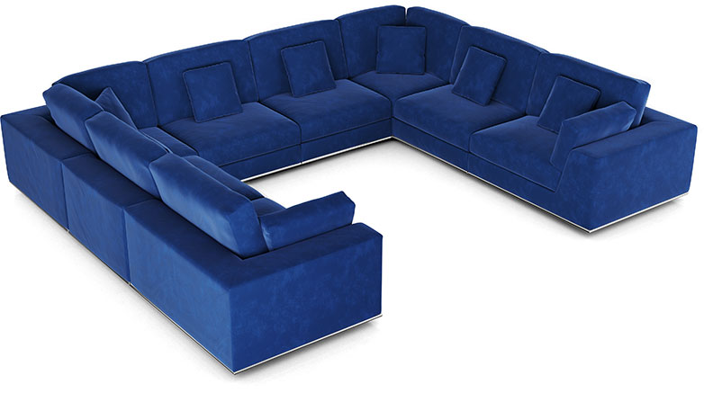 Perry Sectional U Sofa in Navy Velvet