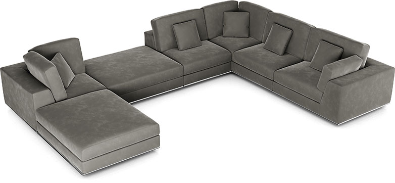 Perry Sectional 2 Corner Sofa in Otter Velvet