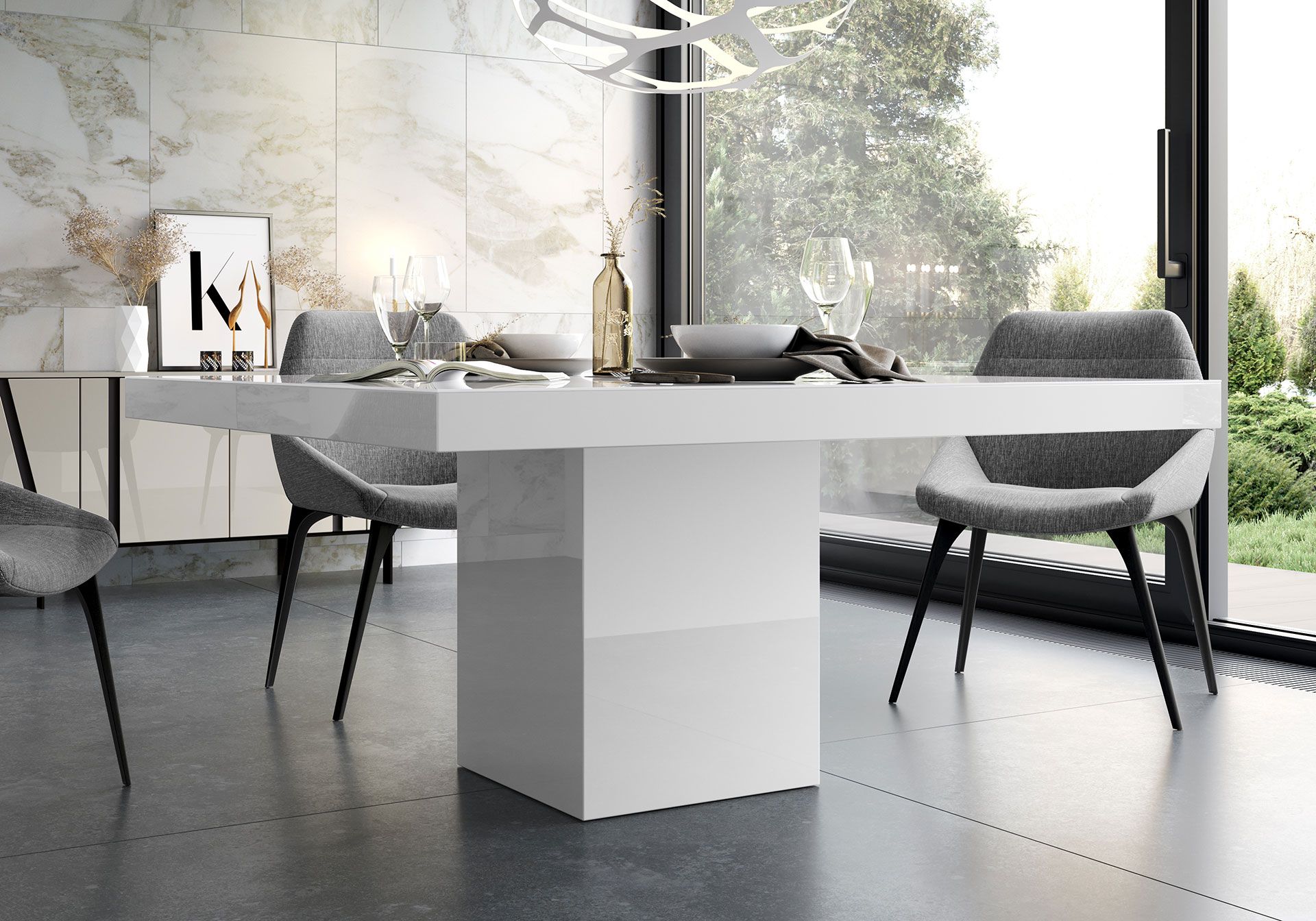 White modern dining table - Write A Review