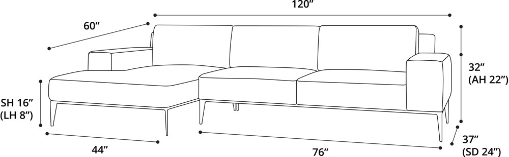 Elizabeth Sectional Sofa Right