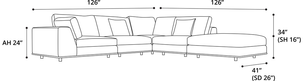 Perry 1 Left Arm Corner Sofa