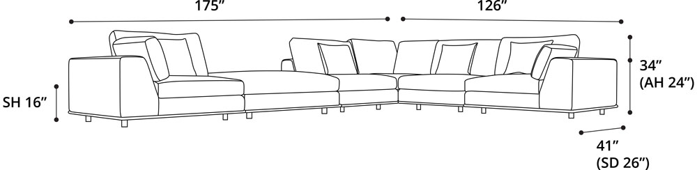 Perry L Sectional Sofa with Ottoman
