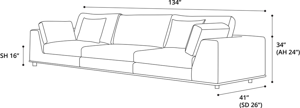 Perry Three Seat Sofa