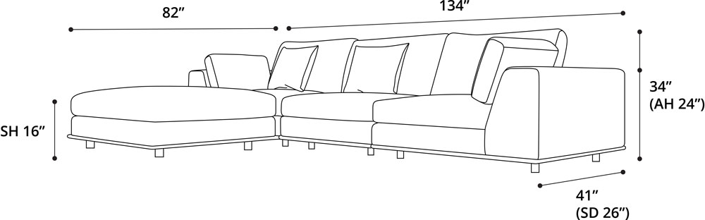 Perry Three Seat Sofa with Ottoman